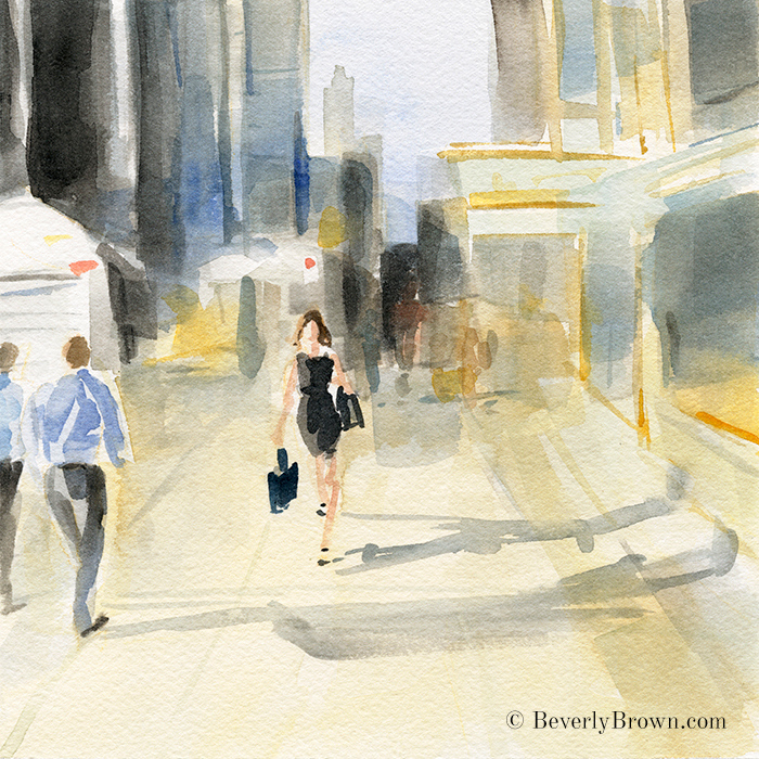 Walking in New York City Watercolor Painting by Beverly Brown   Fine Art Prints for Sale   www.beverlybrown.com