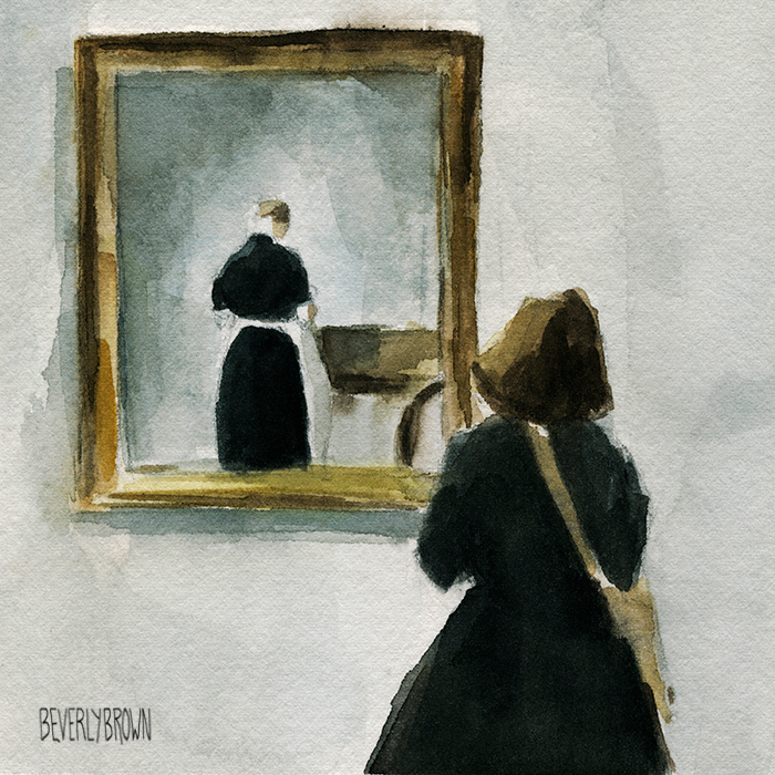 Watercolor sketch from the Vilhelm Hammershoi exhibit at Scandinavia House in NYC by artist Beverly Brown | www.beverlybrown.com