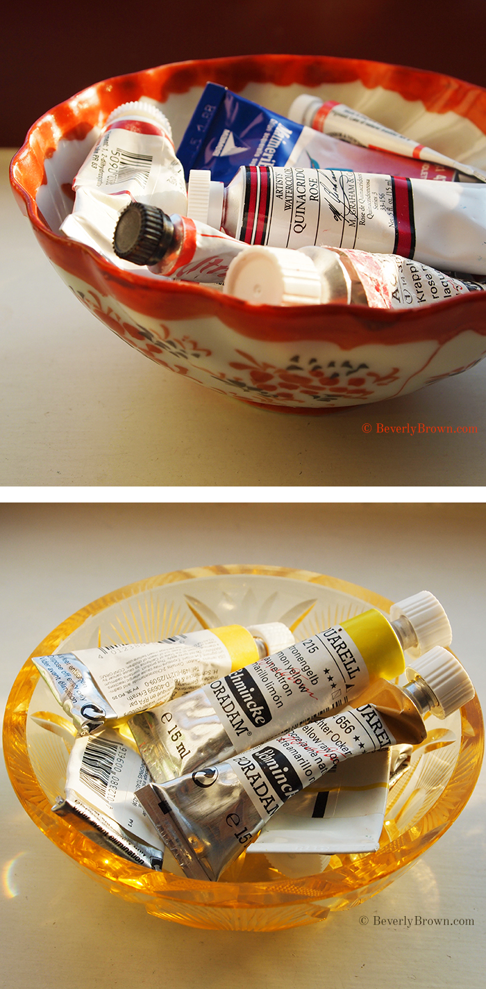 Artist Beverly Brown shares her art supply storage idea for organizing paint tubes in vintage bowls | www.beverlybrown.com