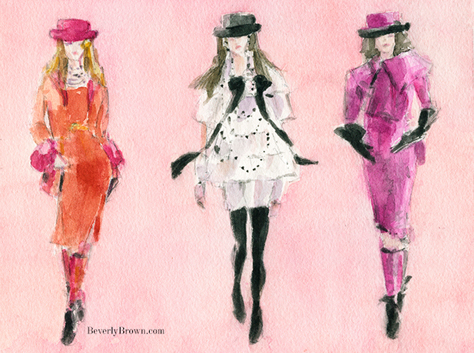 Watercolor fashion illustration inspired by Karl Lagerfeld's witty takes on the classic Chanel suit at Paris Fashion Week Fall/Winter 2016 by Beverly Brown | www.beverlybrown.com