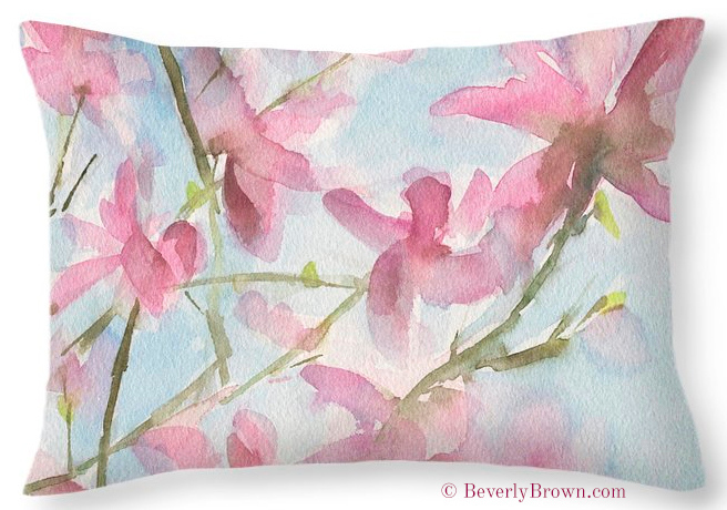 Pink Magnolia Floral Throw Pillows by watercolor artist Beverly Brown | www.beverlybrown.com