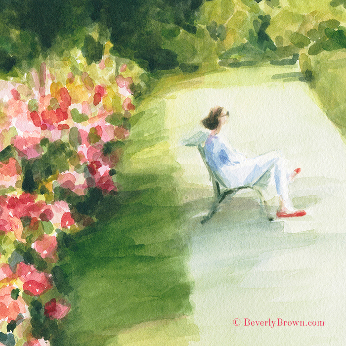Peonies and Red Shoes at the Parc de Bagatelle, Paris - watercolor painting by Beverly Brown. Framed fine art prints for sale online. © Beverly Brown | www.beverlybrown.com