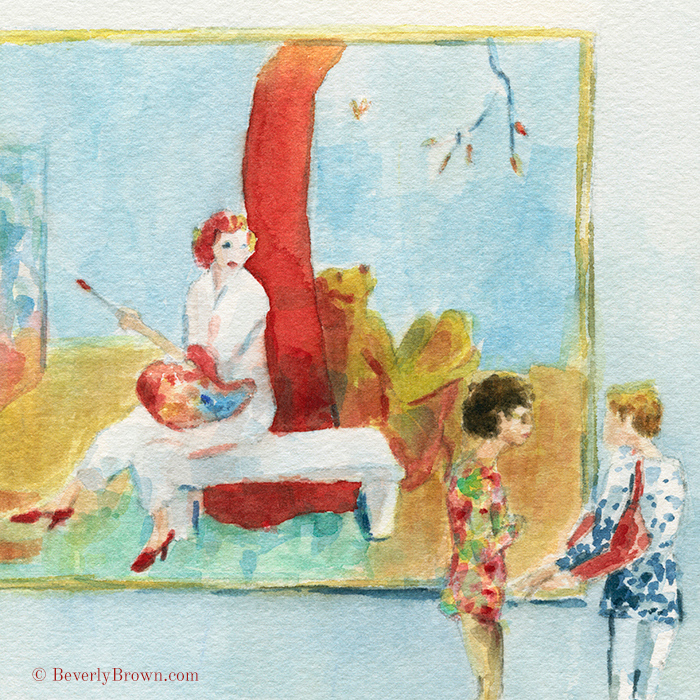 Looking at Florine Stettheimer at the Norton Museum of Art | Watercolor sketch by Beverly Brown | www.beverlybrown.com