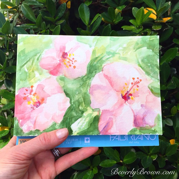 Hibiscus Blossoms Watercolor | Artists Sketchbook by Beverly Brown | www.beverlybrown.com
