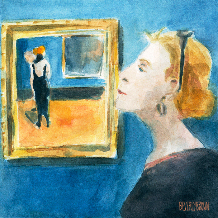 "Watercolor by artist Beverly Brown at the new Whitney Museum of a visitor in front of Guy Pene Du Bois' painting, ""Juliana Force at the Whitney Studio Club."" 