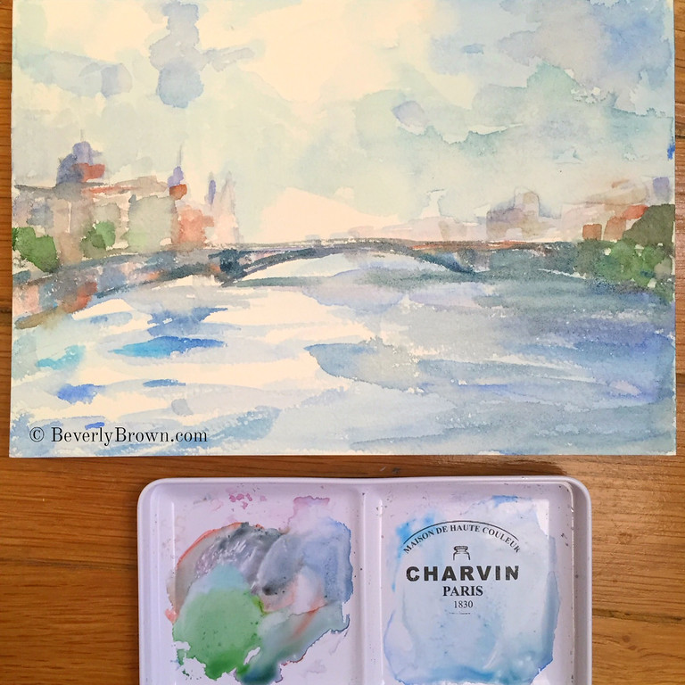 The River Seine in dreamy shades of blue - Paris watercolor sketches by artist, Beverly Brown. Framed prints for sale online. © Beverly Brown | www.beverlybrown.com