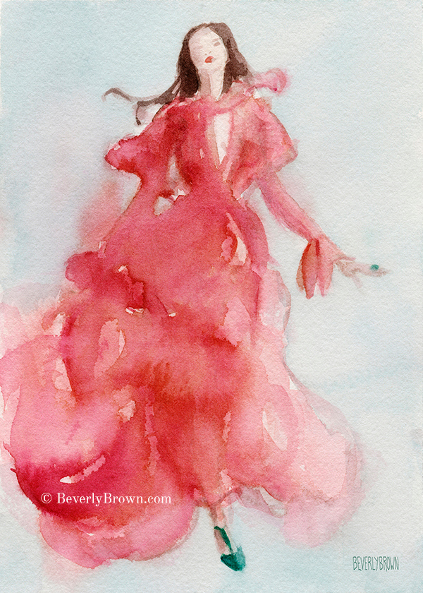 Coral Evening Dress Fashion Art by Beverly Brown | Art prints for sale from $37 | www.beverlybrown.com