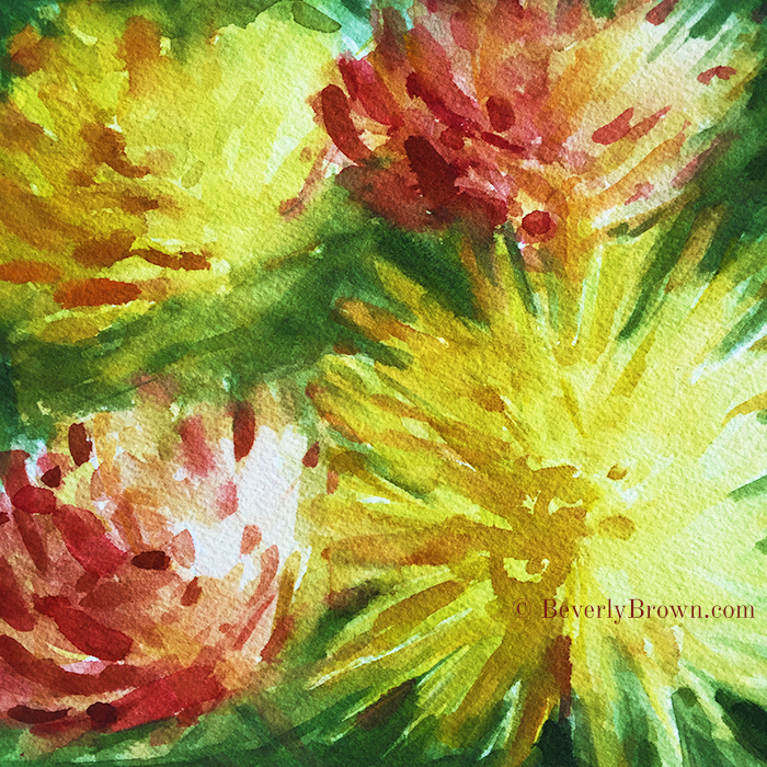 Cremon Mums Abstract Floral Watercolor Painting by Beverly Brown | Prints from $37 | www.beverlybrown.com