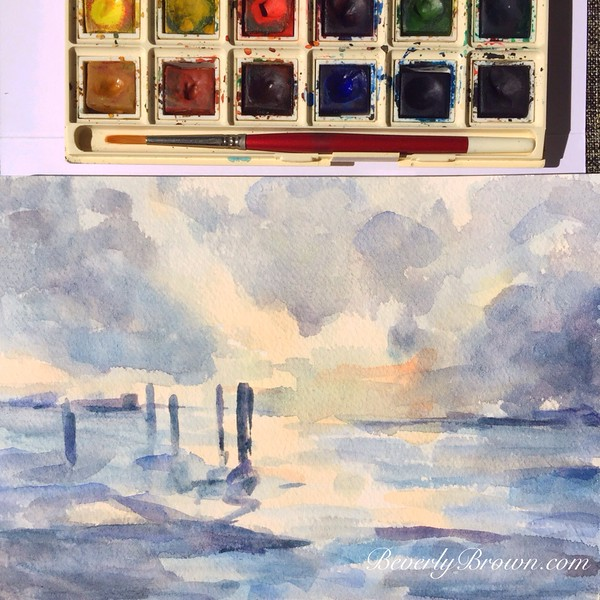 Sunset over the Intercoastal Waterway, West Palm Beach, Florida | Watercolor | Artists Sketchbook by Beverly Brown | www.beverlybrown.com
