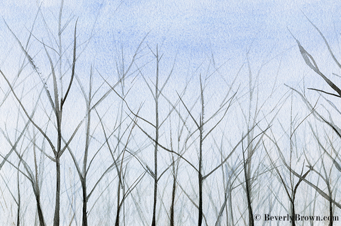 Winter Trees watercolor art by Beverly Brown | Prints for sale from $30 | www.beverlybrown.com