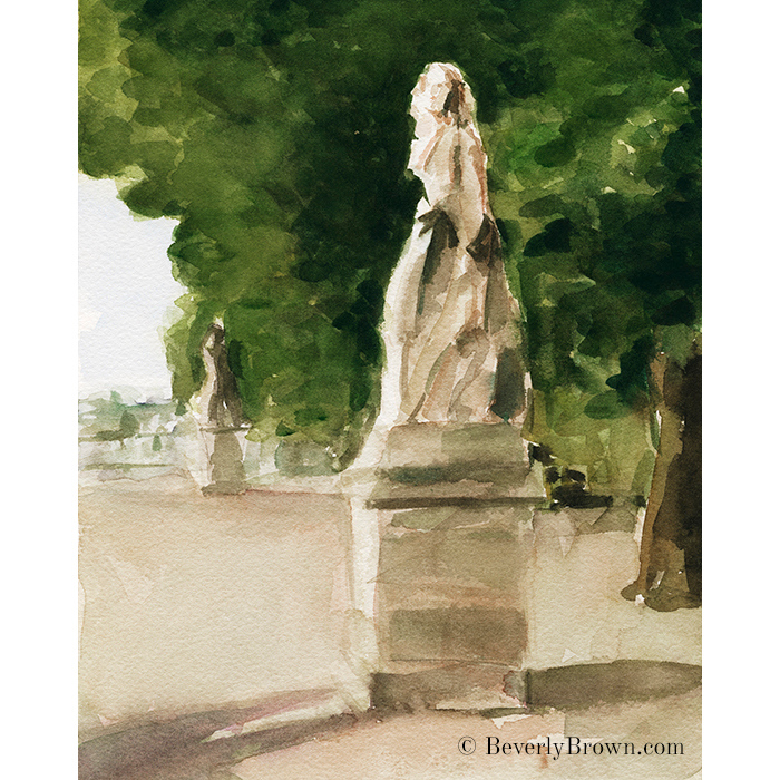 Statues Jardin du Luxembourg - Paris watercolor painting by artist Beverly Brown. Framed fine art prints for sale. © Beverly Brown | www.beverlybrown.com