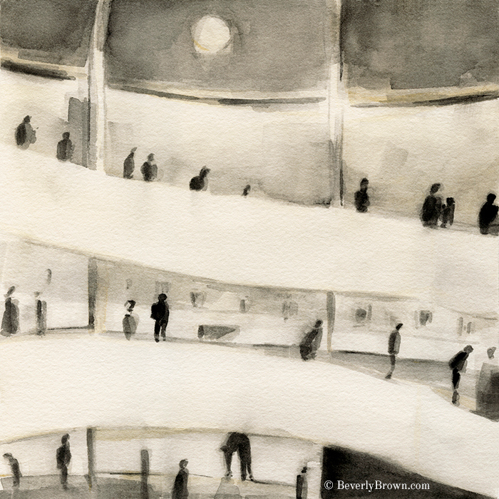 Interior of the Guggenheim Museum in New York - watercolor painting by Beverly Brown   Fine Art Prints for Sale   www.beverlybrown.com