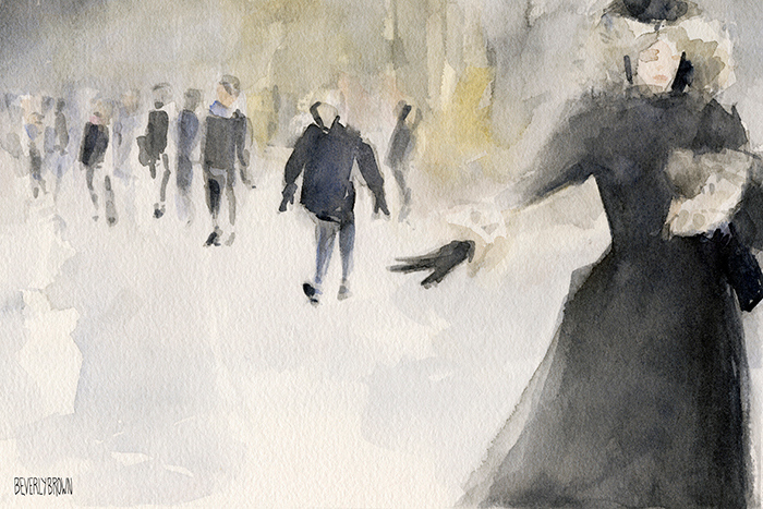 Walking in the Snow - Watercolor Painting by Beverly Brown | Prints for sale from $37 | www.beverlybrown.com