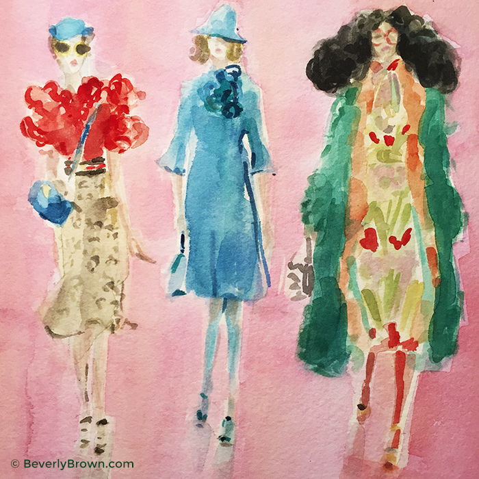 Watercolor fashion illustration inspired by Alessandro Michele's Fall/Winter 2016 Milan Fashion Week collection for Gucci by artist Beverly Brown | www.beverlybrown.com