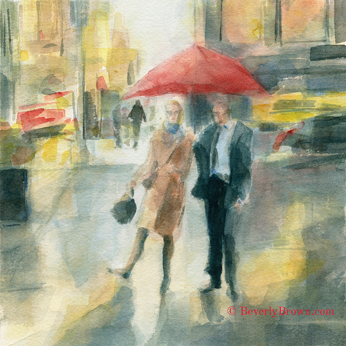 New York in the Rain watercolor painting by Beverly Brown |Fine art prints for sale from $37 | www.beverlybrown.com
