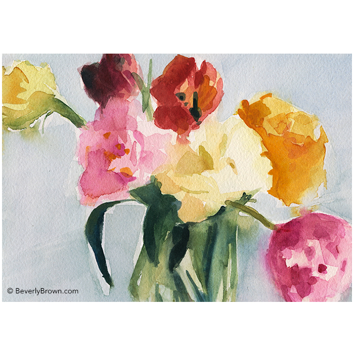 Tulips in My Studio - watercolor flower painting by Beverly Brown | Fine Art Prints for Sale | www.beverlybrown.com