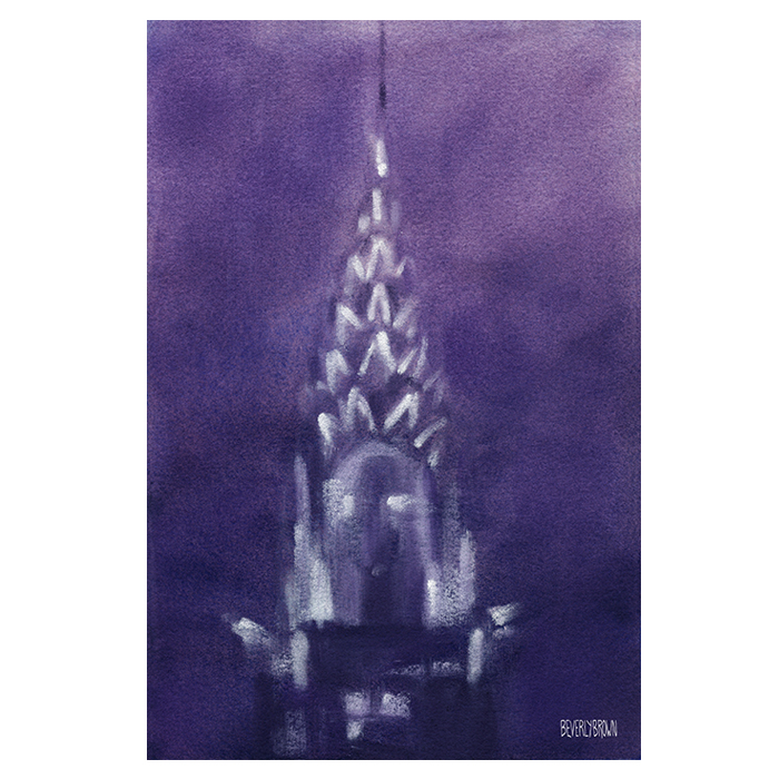 Painting of the Chrysler Building at Night against a violet sky by artist Beverly Brown | Prints for sale from $37 | www.beverlybrown.com