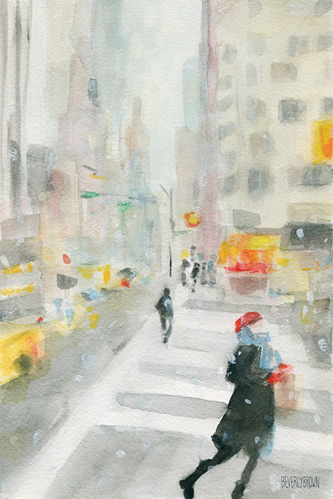 New York Winter 57th Street - Watercolor Painting by Beverly Brown | Prints for sale from $37 | www.beverlybrown.com
