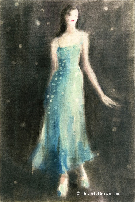 Aqua Blue Evening Dress. Aqua blue and sepia fashion Art by Beverly Brown. Wall art on canvas, paper, metal & acrylic with custom framing at www.beverlybrown.com