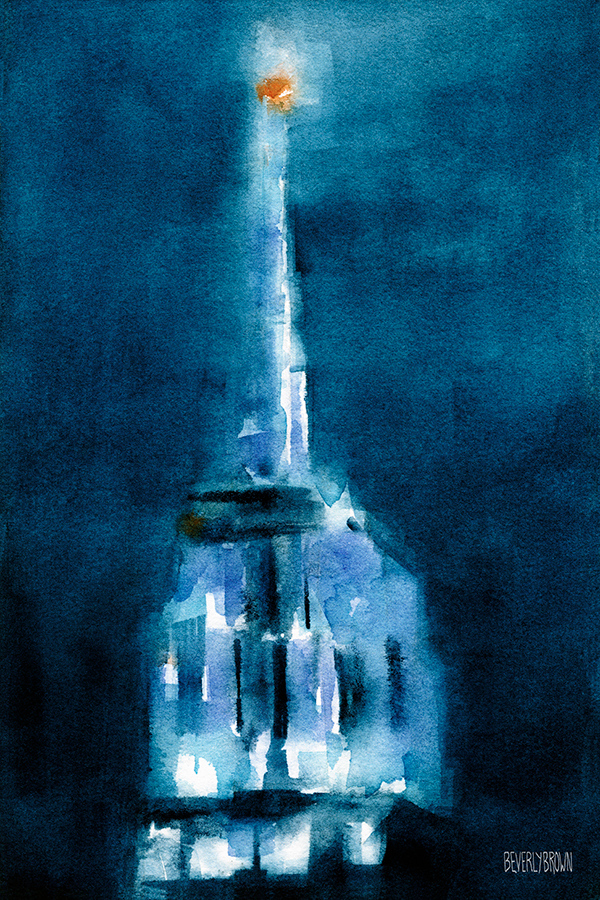 Blue Empire State Building Watercolor Painting of New York City by Beverly Brown | Prints for Sale from $37 |www.beverlybrown.com