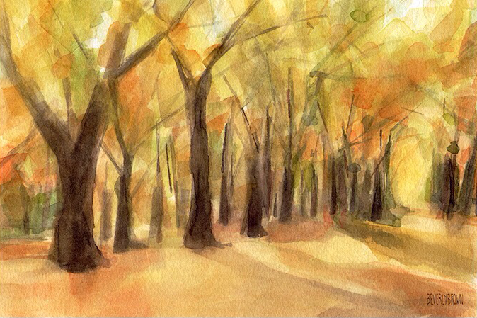 Autumn Leaves Central Park Watercolor Painting by Beverly Brown | Prints for Sale from $37 | www.beverlybrown.com