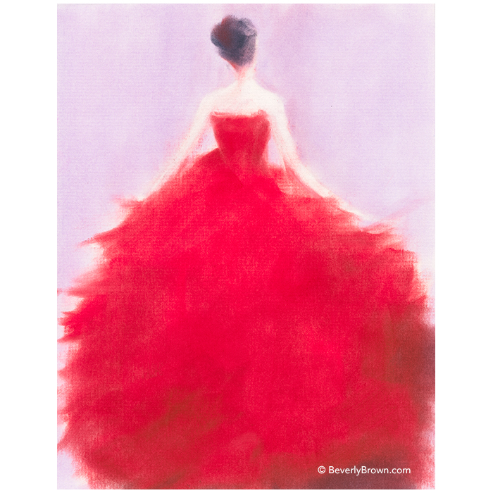 The Red Evening Dress - pastel painting by Beverly Brown | Fine Art Prints for Sale | www.beverlybrown.com